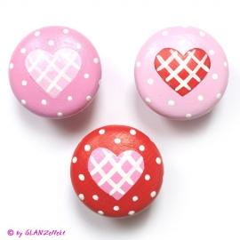 3 Möbelgriffe Herz gepunktet